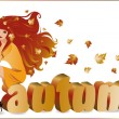 """Autumn girl with text """"autumn"""" in 3D image, vector — Stock Vector"""