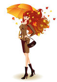 Autumn girl with umbrella. vector — Stock Vector