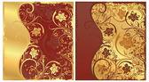 Floral gouden kaart instellen, vector — Stockvector