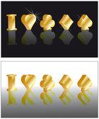 Poker golden card 3D image, vector — Stock Vector