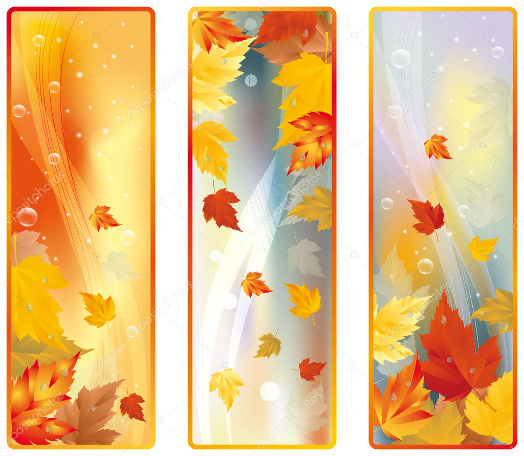 Set Autumn banners, vector — Stock Vector #3622373