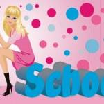 The beautiful schoolgirl with pencils. — Stock Vector