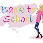 Schoolgirl draws on a wall BACK TO SCHOOL. — Stock Vector