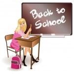The schoolgirl sits at a school desk. vector — Stock Vector