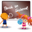 Back to School. Girl and Boy. vector — Stock Vector