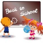 Back to School. Girl and Boy. vector — Stock Vector