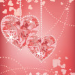 Wedding love card with hearts, vector — Image vectorielle