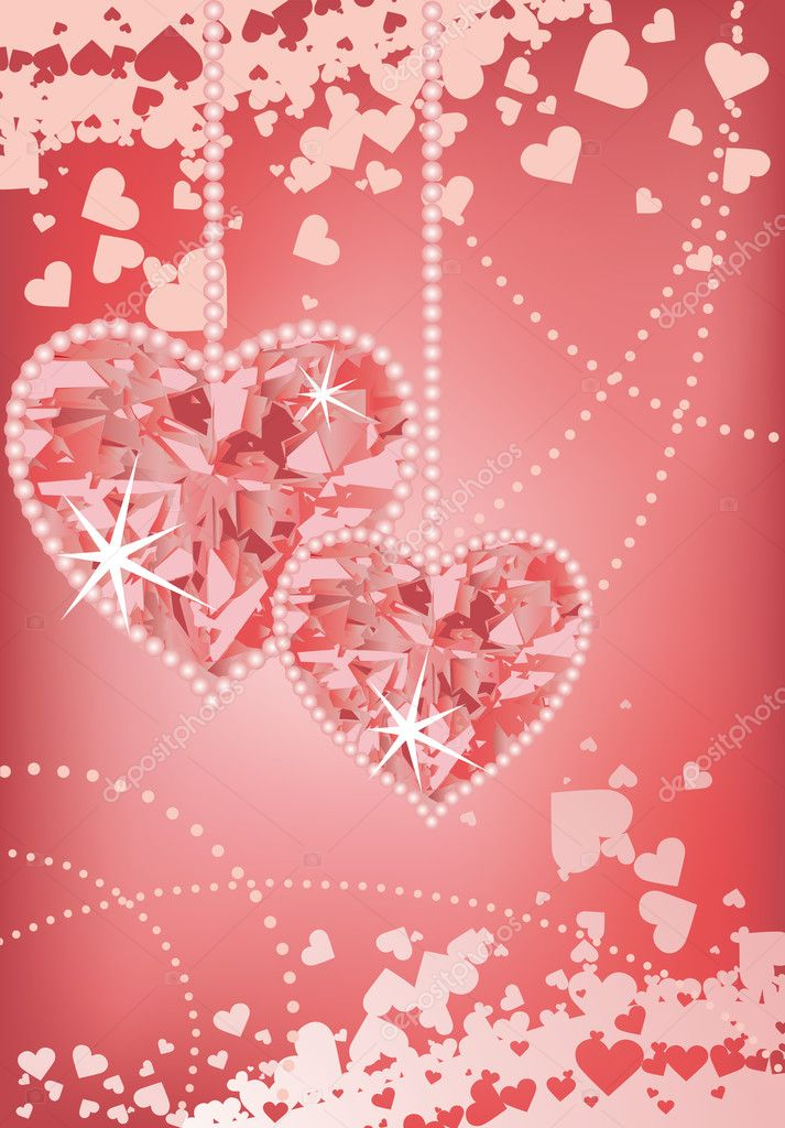Wedding love card with hearts, vector  Vektorgrafik #3691787