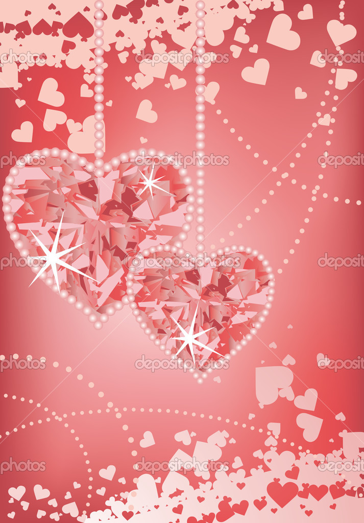 Wedding love card with hearts, vector  Stock Vector #3691787