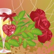 Wedding love card with champagne and roses. vector — Stock Vector