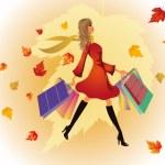 Autumn shopping woman. vector — Stock Vector
