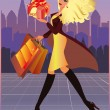 Shopping fashion girl in city. vector illustration — Stock Vector