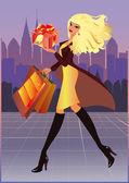 Shopping fashion girl in city. vector illustration — Stock Vector