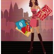 Royalty-Free Stock Vector Image: Shopping fashion girl in city, vector