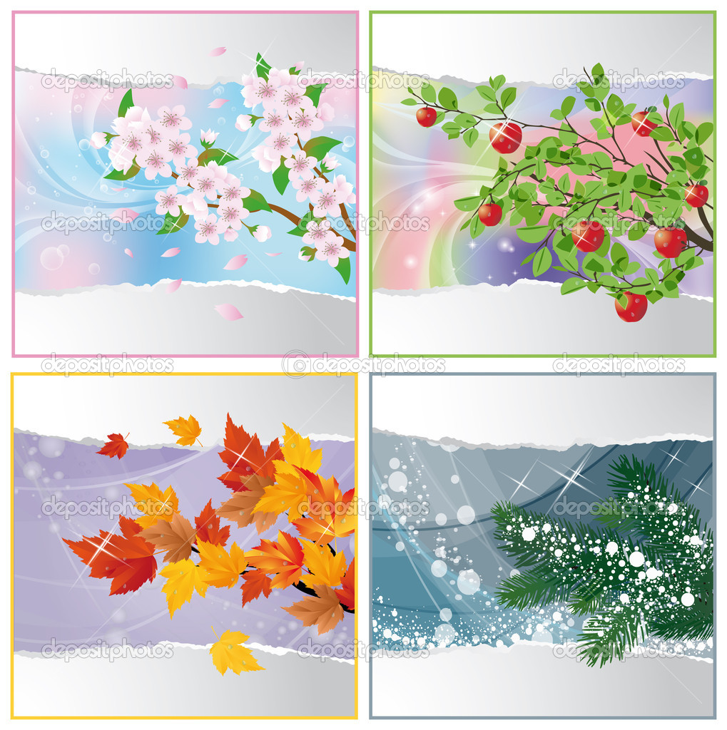 Four seasons. vector illustration — Stock Vector #3802340