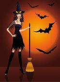 Halloween witch. vector — Stock Vector