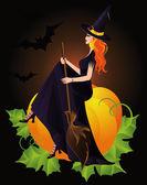 Bruja de halloween y calabaza, vector — Vector de stock
