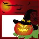 Halloween postcard, photo frame. vector — Stock Vector
