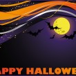 Halloween card with moon and bats. vector - Imagens vectoriais em stock