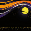 Halloween card with moon and witch. vector - Stock Vector