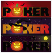 Halloween poker banners, vector — Stock Vector