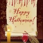 Happy Halloween card, vector illustration — Stock Vector