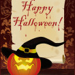 Happy Halloween greeting card, vector - Stok Vektör