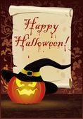 Tarjeta de felicitación feliz halloween, vector — Vector de stock