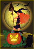 Halloween card with girl and cat, vector — Stock Vector