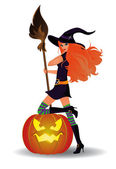 Halloween sexy witch. vector — Stock Vector