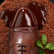 Mans shoes in chocolate on a plate — Stock Photo #2984419