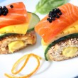 Two caviare and salmon sandwiches — Stock Photo