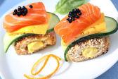 Two caviare and salmon sandwiches — Stock Photo