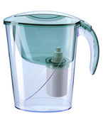 Turquoise water filtration pitcher with filter — Stock Photo