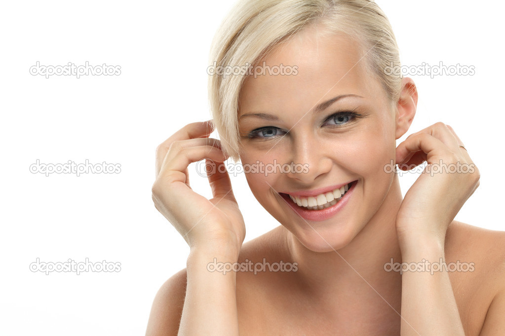 Image with beautiful smiling blonde girl on white background close-up — Stock Photo #3388523