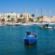 Old port with rowboats. Bari. Apulia. — Stock Photo