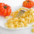 Orecchiette and tomatoes on white dish. — Stock Photo