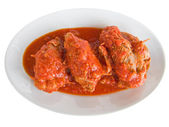 Meat roulade in tomato sauce. — Stock Photo