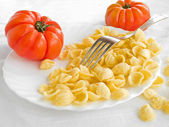 Orecchiette and tomatoes on white dish. — Stock Photo