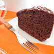 Chocolate Cake Slice at Breakfast. - Lizenzfreies Foto