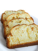 Plumcake on white dish. — Stock Photo