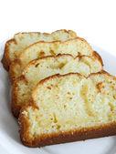 Plumcake on white dish. — Stock Photo
