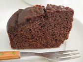 Chocolate Cake Slice at Breakfast. — Stock Photo