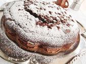 Chocolate Cake on silver tray. — Stock Photo