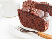 Chocolate Cake Slices at Breakfast. — Foto Stock