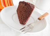 Chocolate cake slice. — Stock Photo
