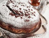 Chocolate Cake at Breakfast. — Stock Photo