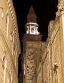 Belltower Cathedral by night of Monopoli. Apulia. — Stock Photo