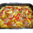 Potatoes and Meatballs. — Stock Photo