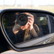 Royalty-Free Stock Photo: Driving mirror with photographer.